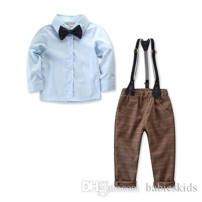 be31219266 Compre Moda Infantil Ropa Camisa + Pantalones De Liga De Manga Larga Baby  Boy Bowknot Traje De Caballero Otoño Recién Nacido Conjunto De Ropa A   15.98 Del ...