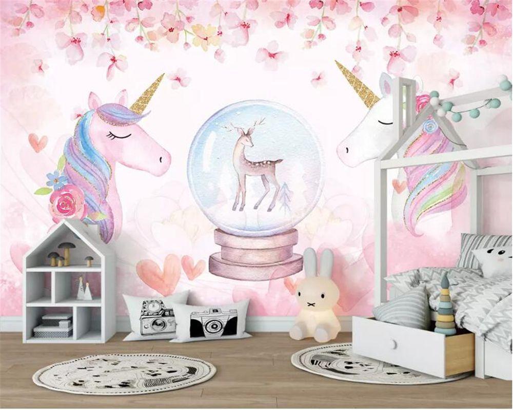 Custom 3d Wallpaper Watercolor Unicorn Art Mural Life Bedroom
