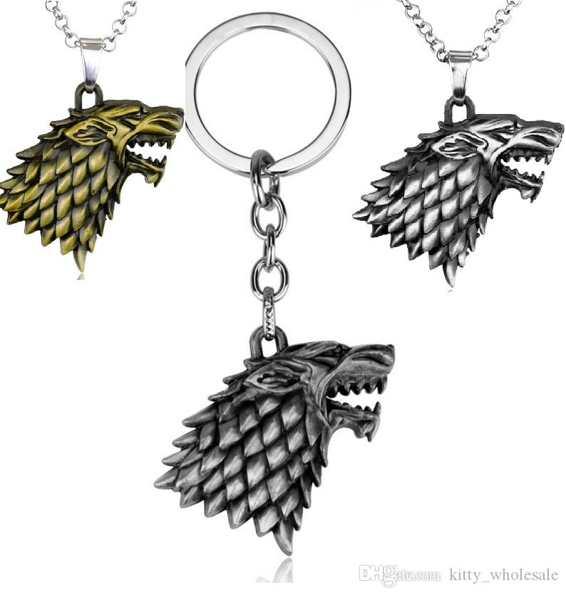 Game of Thrones Necklace House Strek Lannister Targaryen Dragn Wolf Lion Pendant Keychain Stark family Necklace fashion Jewelry HYS387-14