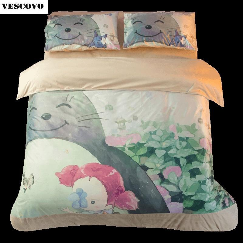 Cartoon Totoro bedding sets for childrens' home winter Fleece duvet/comforter covers 3/4 pieces bed linens Y200111