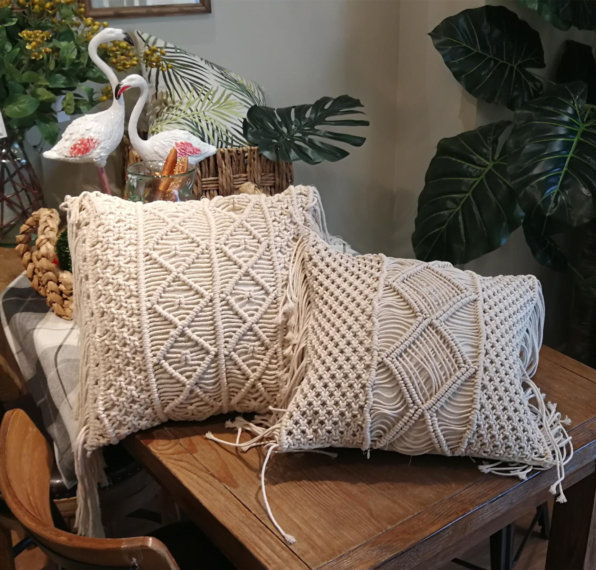 Boho Decorative Pillows Macrame Bed Throw Pillows Beige Zipper