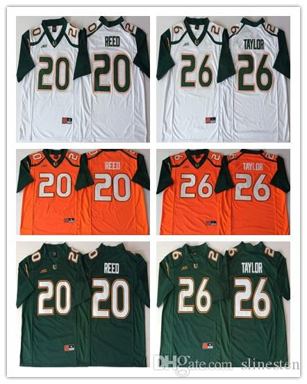 info for 4dcbd 8d9ec Mens Miami Hurricanes College Football Jerseys Retro 26 Sean Taylor 20 Ed  Reed University Football Shirts