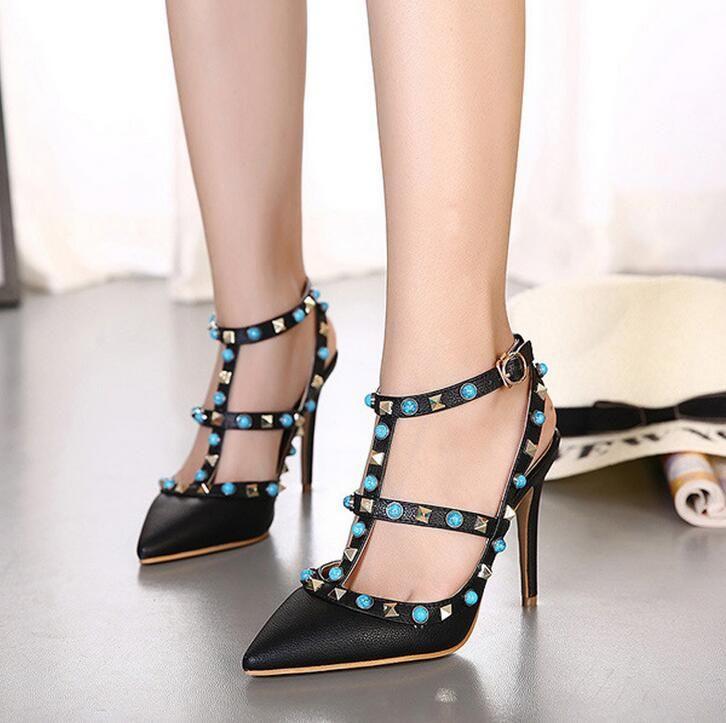 8 Gem Rivets Talons Dames Pompes Luxe Cm Banquet Sandales Élégante Chaussure Bleu De Femmes Designer Marque Noir Chaussures sCdtQrhBx