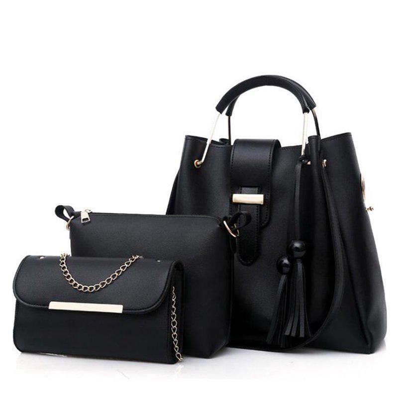 da715598e8 Women Handbags Pu Leather Shoulder Bags Casual Tote Bag Tassel Metal Handle  Designer Composite Messenger Bag Purse Sac Pp 1072 Designer Bags Ladies  Handbags ...