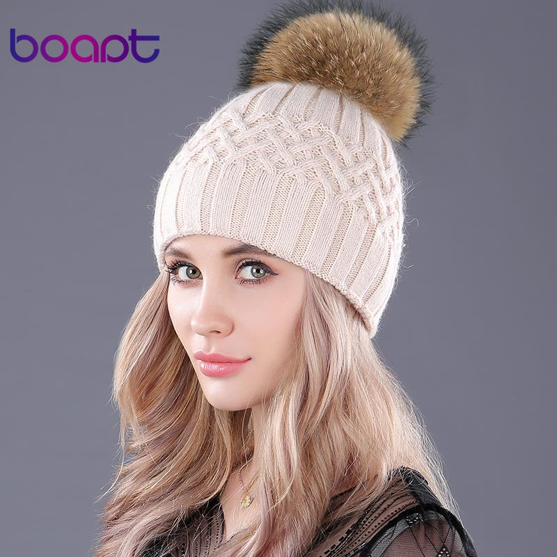 26e2b066ad0c80 bopat Double Layer Soft Rabbit Knitted Caps Natural Raccoon Fur ...