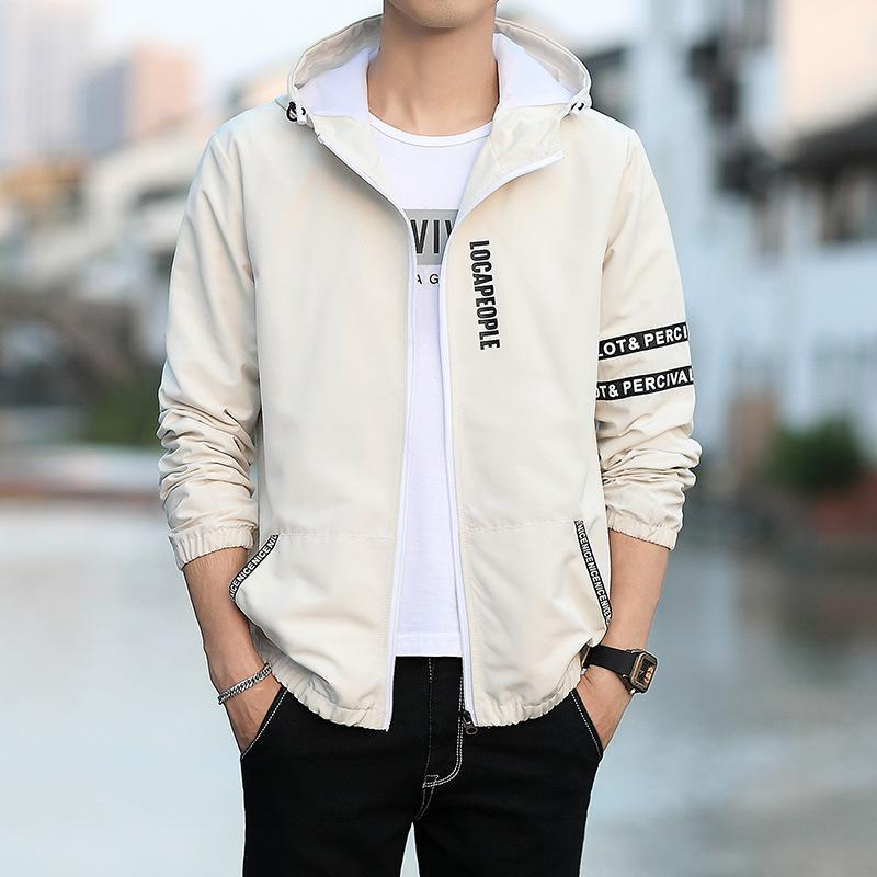 Men's jacket spring and autumn jacket male Korean version of the self-cultivation hooded jacket youth students wild handsome shirt