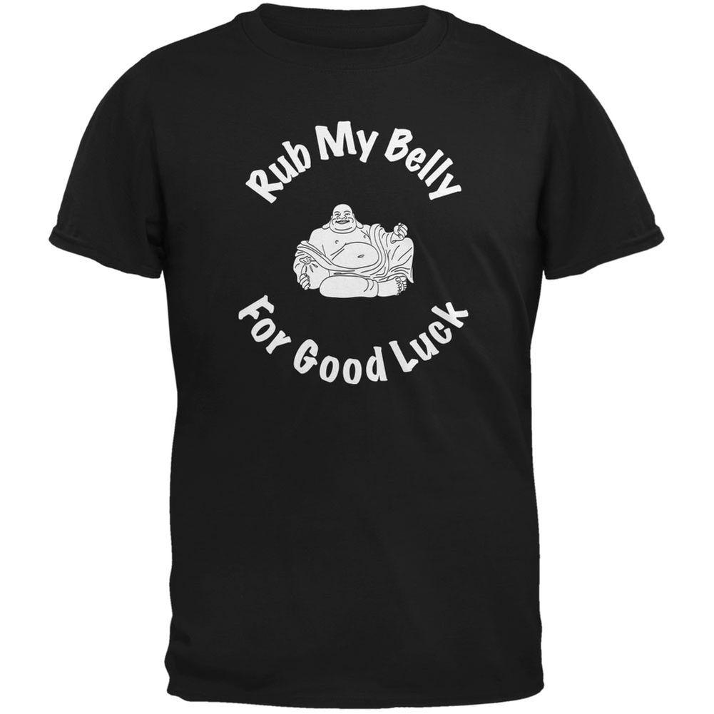 Buddha Rub My Belly Good Luck Black Adult T-Shirt mens pride dark t-shirt white black grey red trousers tshirt suit hat pink t-shirt