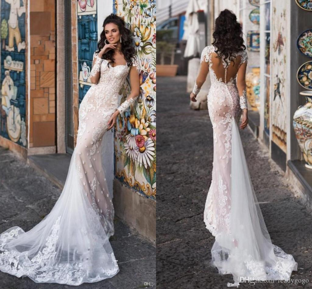Gorgeous Champagne Mermaid Long Sleeve Wedding Dresses 2019 Sheer Covered Button Back Lace Applique Garden Outdoor Bridal Dress