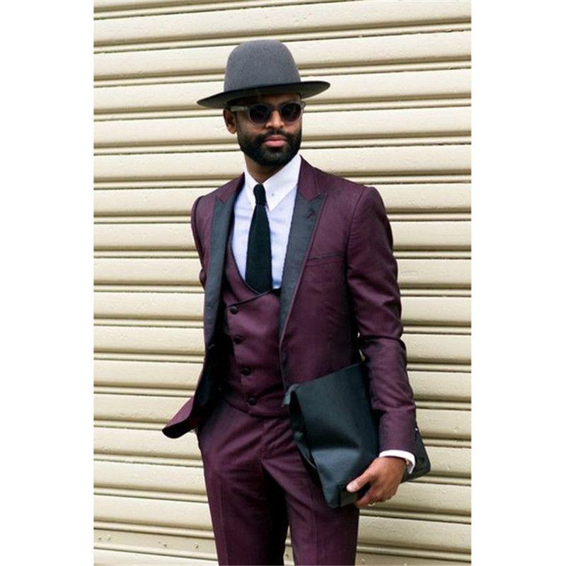 c9b15a4229f28 New Arrival Groomsmen Peak Lapel Groom Tuxedos Purple Men Suits  Wedding Prom Dinner Best Man Blazer ( Jacket+Pants+Vest+Tie ) M1106