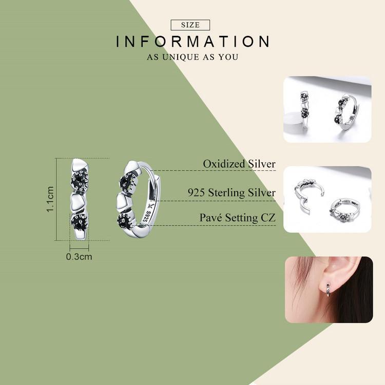 WOSTU Echt 925 Sterling Silber Für Immer Liebe Herz, Schwarz CZ Ohrstecker Für Frauen Silber Ohrring Schmuck Liebhaber Geschenk CQE445