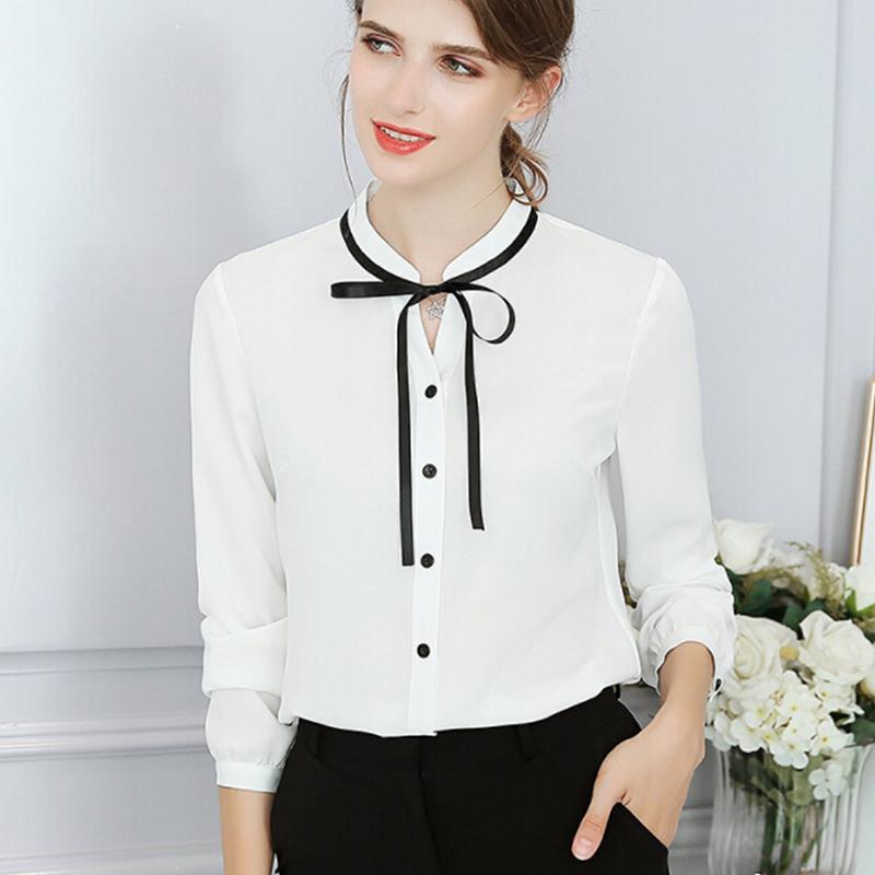 6731a3953a077a Compre Nuevo Verano Otoño Tops Señoras De La Oficina Blusa De Moda De Manga  Larga Arco Camisas Delgadas Femeninas Bodycon Lindo Del Trabajo Blusas  Femme ...