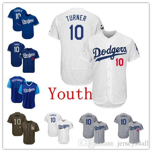 timeless design d206c 5f4f6 Youth Kids Child Los Angeles Dodgers Baseball Jerseys 10 Justin Turner  Jersey White Blue Gray Grey Green Salute Players Weekend