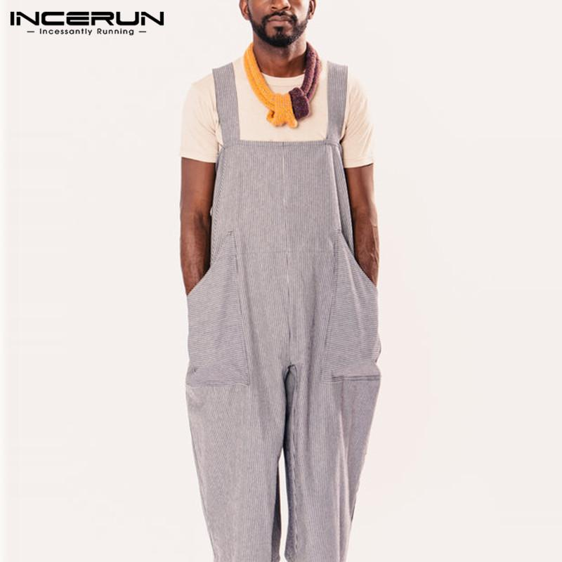 newest style of where to buy largest selection of 2019 Men Women Rompers Stripe Overalls Wide Leg Pants Dungarees Casual  Jumpsuits Long Trouser Femininas Hombre Unisex Garment