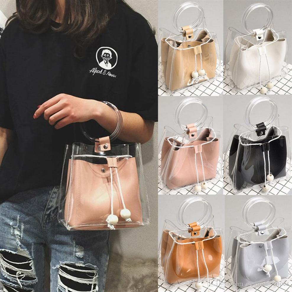 1daeb845bd62 2018 New Transparent Bucket Beach Bag Summer Women Handbags Chains ...