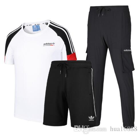 men and women Three piece suit T shirrt trousers and shorts Sports leisure suit couples sleeved Short long pants #70906