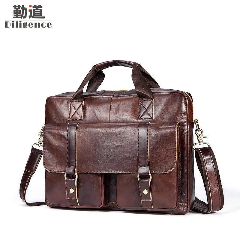 59fa80e5173b Genuine Leather Handbags Mens Business Briefcases Man Vintage Shoulder  Crossbody Bags Fashion Messenger Laptop Office Bag Ladies Bags Leather  Purses From ...