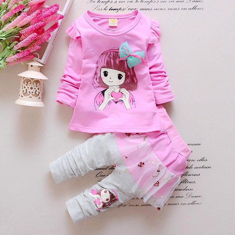 good quality 2019 spring autumn baby girl clothing sets newborn toddler outfits cartoon coat+lace skirt pants clothes infant suit