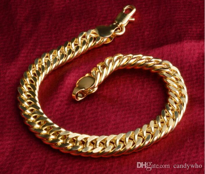 Hot New Luxury 18K Gold Plated Bracelet 8mm Figaro Chain Bracelet For Women/Men Bracelet Birthday Gift