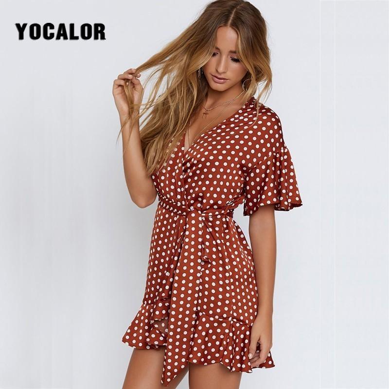 0a0f8992a309f Vintage Red Polka Dot Summer Boho Dress Plus Size Short Sleeve Sexy Beach  Dress Women Sash Slim Waist Irregular Ruffles Vestidos Red Cocktail Dress  Plus ...