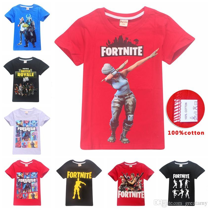 209e28ccb4c Acheter Enfants Fortnite T Shirt 100% Coton Grands Garçons Filles Chemises  À Manches Courtes Vêtements D été Enfants Tees Vêtements 63 Conception Fille  ...