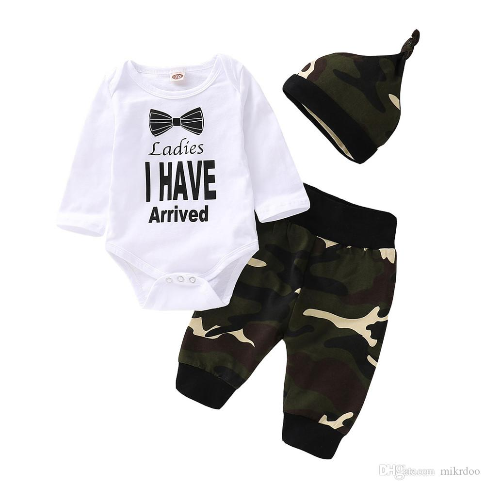 93c97ee63 2019 Mikrdoo Newborn Infant Baby Boy Clothes Set Letters Print Long ...