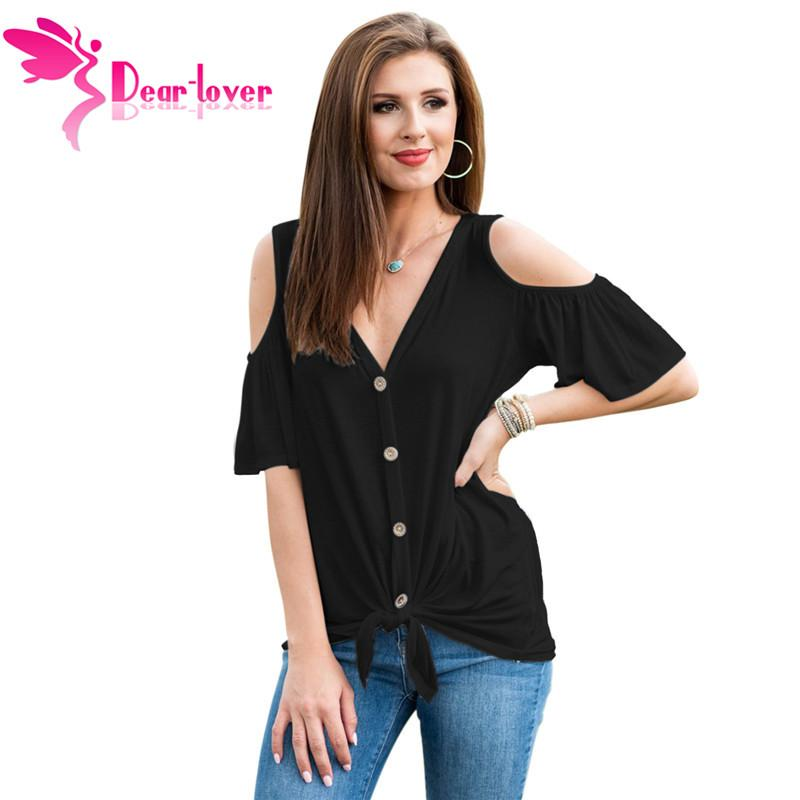 1daca550dbf64b New Summer Cold Shoulder Tops For Women Casual V Neck Short Sleeve Blouse  With Button Front Black White LC251773 Cool Funny Shirts One Day Shirts  From ...