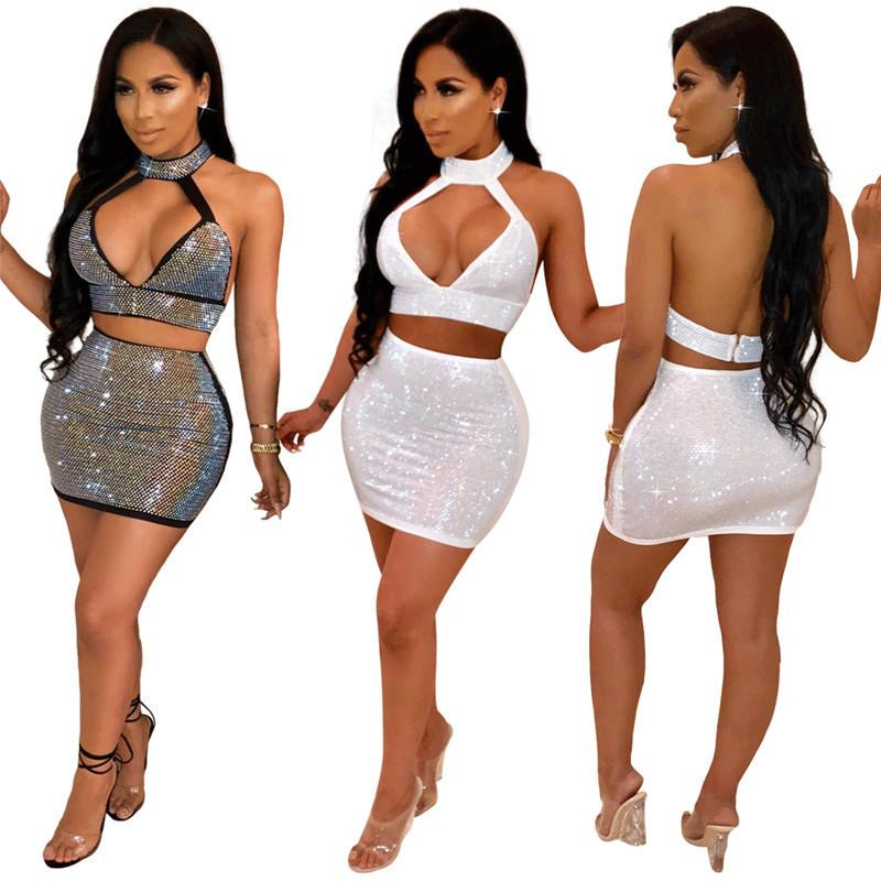 bc993736a36 2019 Autumn Sexy Set Women Fashion Party Club Wear Rhinestone Halter Crop  Top And Bodycon Mini Skirt Suit Two Piece Dress Set Y19042901 From  Fashion_fable, ...