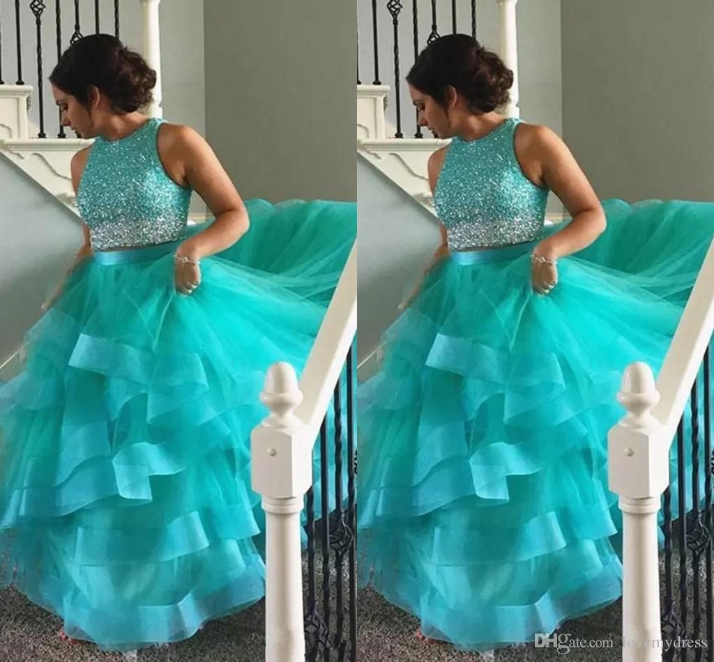 da51fe4fee1 Aqua Quinceanera Dresses With Ruffles Beaded Sequin Jewel Tulle Ball Gown  Sweet 16 Dresses Prom Dress Party Graduation For College Quinceanera Dresses  Plus ...