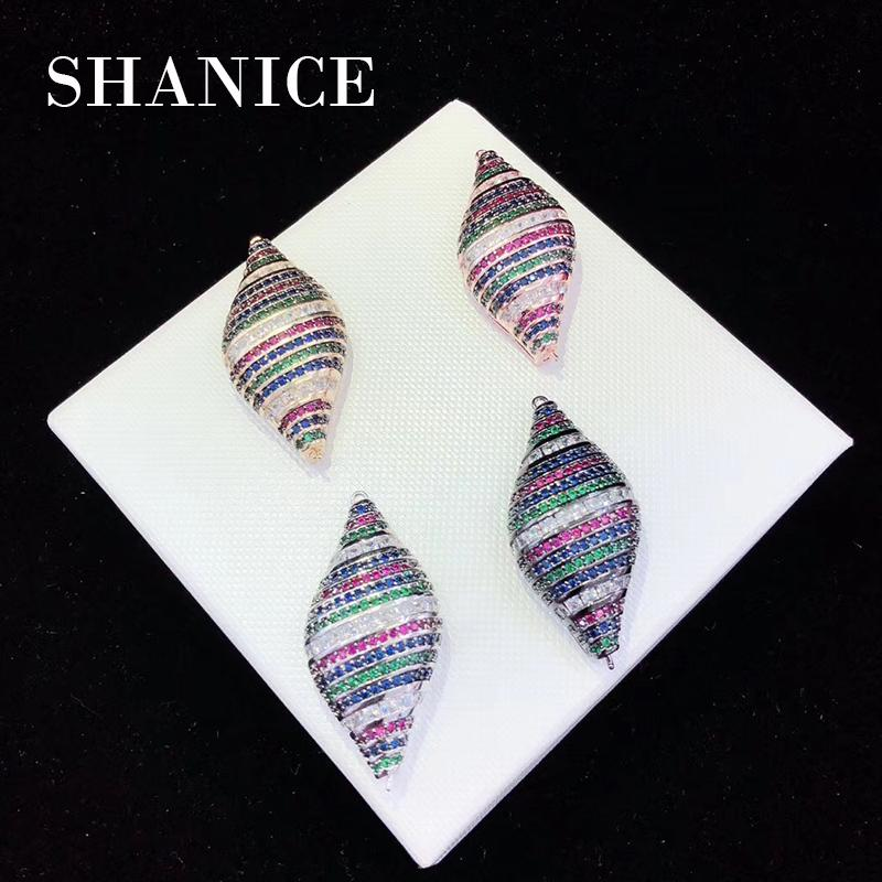 SHANICE Colorful Conch Micro Pave Zircon Connectors Charms For Pearl Necklace Jewelry Making DIY Handmade Tassels Accessory