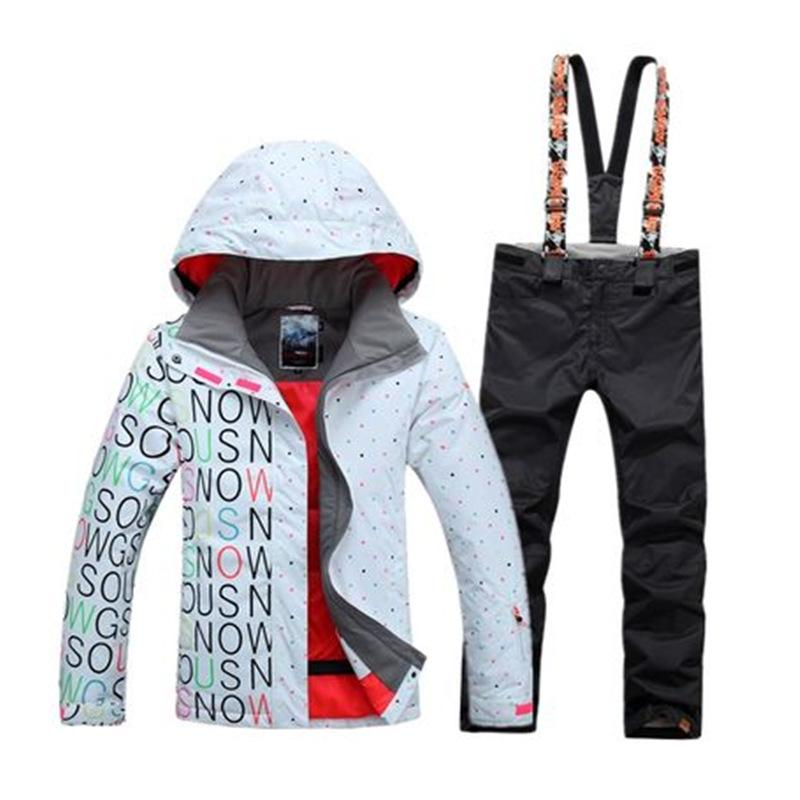 2019 GS White And Black Women Snow Suit 10K Waterproof Windproof Outdoor  Sports Wear Snowboarding Sets Bib Snow Pants And Ski Jackets From Bluelike 69b544d74