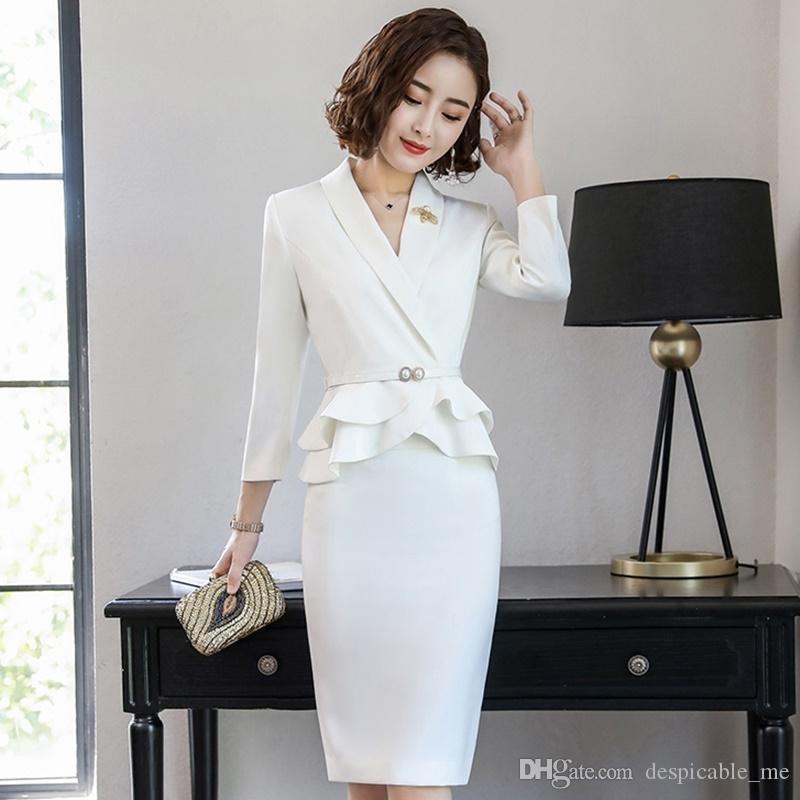 fcacf42f9c Entrevista ternos senhoras do sexo feminino elegante blazer saia branca  terno feminino mulheres uniforme de escritório projeta terno de negócio