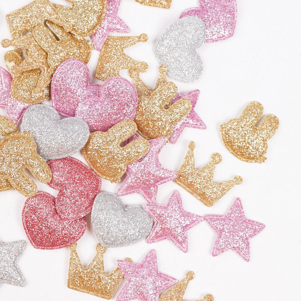 6ce56ab040 100pcs/bag Glitter Patches Crown Rabbit Heart Pattern Cute Patch Apparel  Sewing Material Patches For Clothing Garment Decorative
