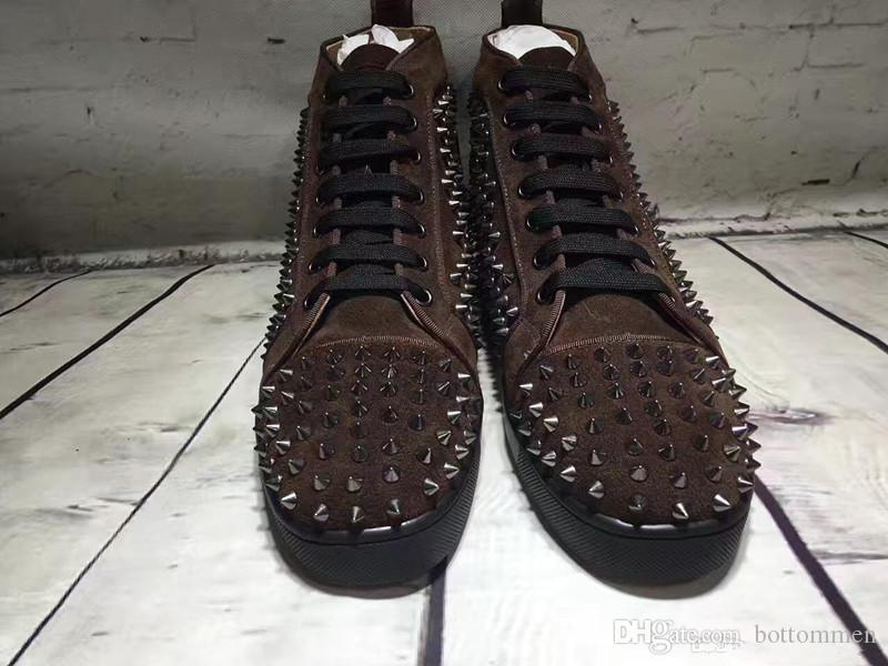 2019 New Designer Brand Brown Suede Spikes Flats Red Bottom Shoes for Mens Women Party ,Lovers Flats Casual Sneakers 35-47 Free Shipping