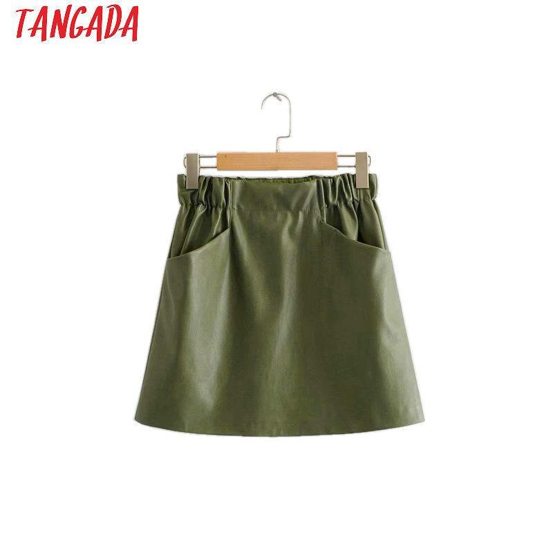 1f1f053c0f 2019 Tangada Women Leather Skirt Pocket 2019 Autumn Green Mini Skirt Sexy  Retro Ladies High Waist Pencil Skirt Korean Style Hy149 Q1904016 From  Lizhang02, ...