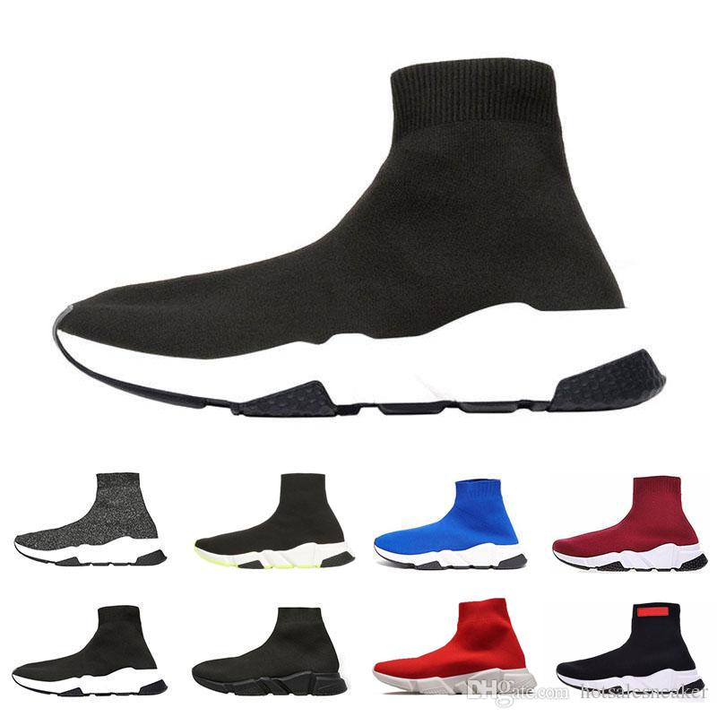 Balenciaga sock speed trainer Chaussettes  cher hommes femmes baskets mode Chaussures noir vert Pure Red rose plat Hommes formateurs Runner taille de chaussure occasionnelle 36-45