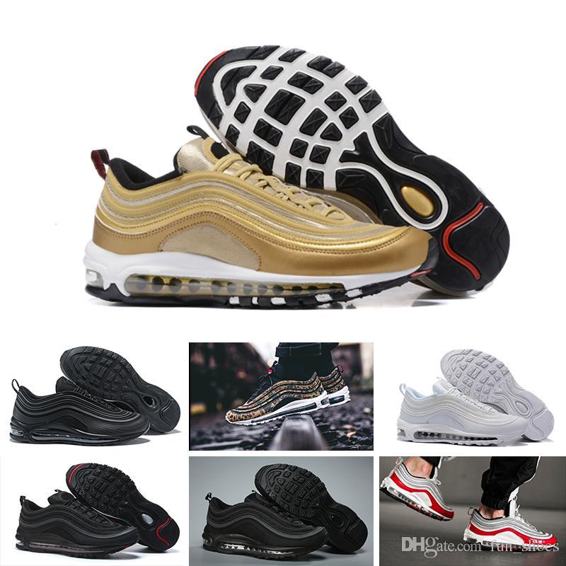 NIKE Air max 97 2018 97 hommes chaussures chaussures classiques 97s triple noir blanc japonais argent mat de formation de vache respirant chaussures