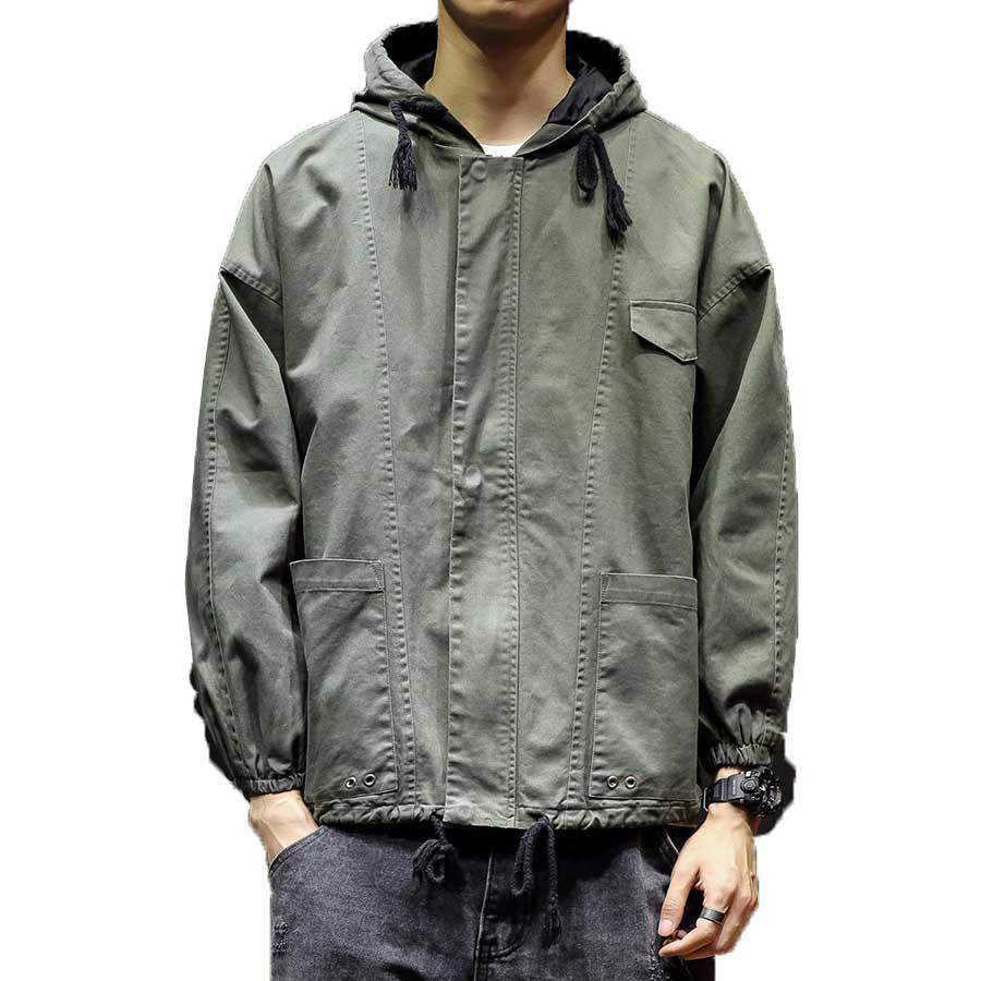 6caf37e4f77 Casual Jackets Male Vintage Windbreaker Hooded Hip Hop Jacket Men Armygreen  Japanese Style Streetwear Cargo Coat For Men Modis Mens Leather Coats  Carhart ...