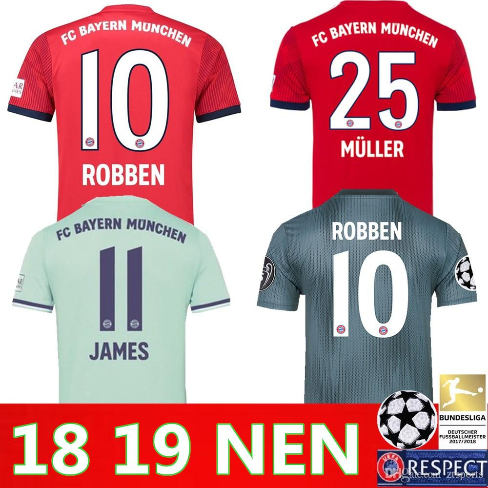 e9a235524 2019 2019  25 MULLER  10 ROBBEN Home Away 3rd Soccer Jersey 18 19 Soccer  Shirt Customized  11 JAMES  9 LEWANDOWSKI Bayern Munich Football Uniform  From ...