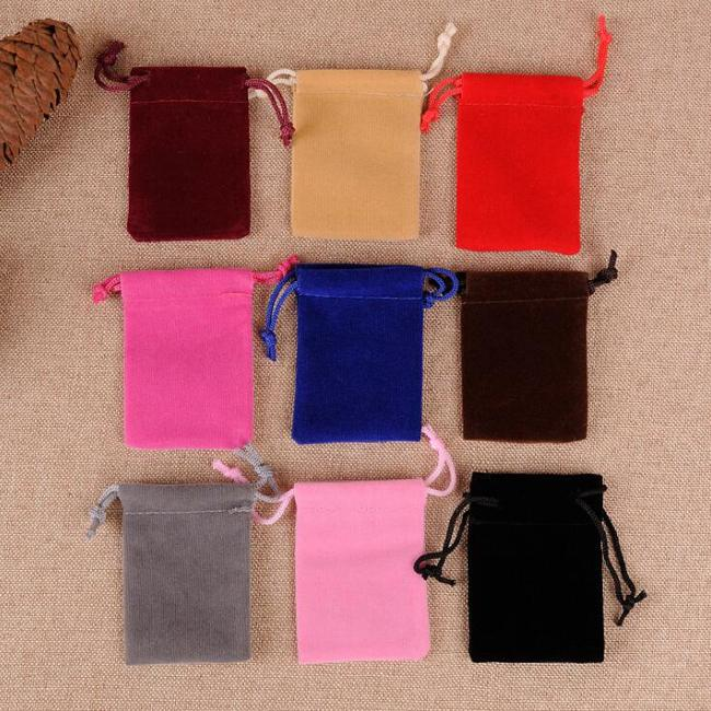 Little Small Size 5x7cm Black/Rose/Red/Blue/Brown/Purple/Beige/Gray/Green Velvet Bags Drawstring Pouches Jewelry Bag