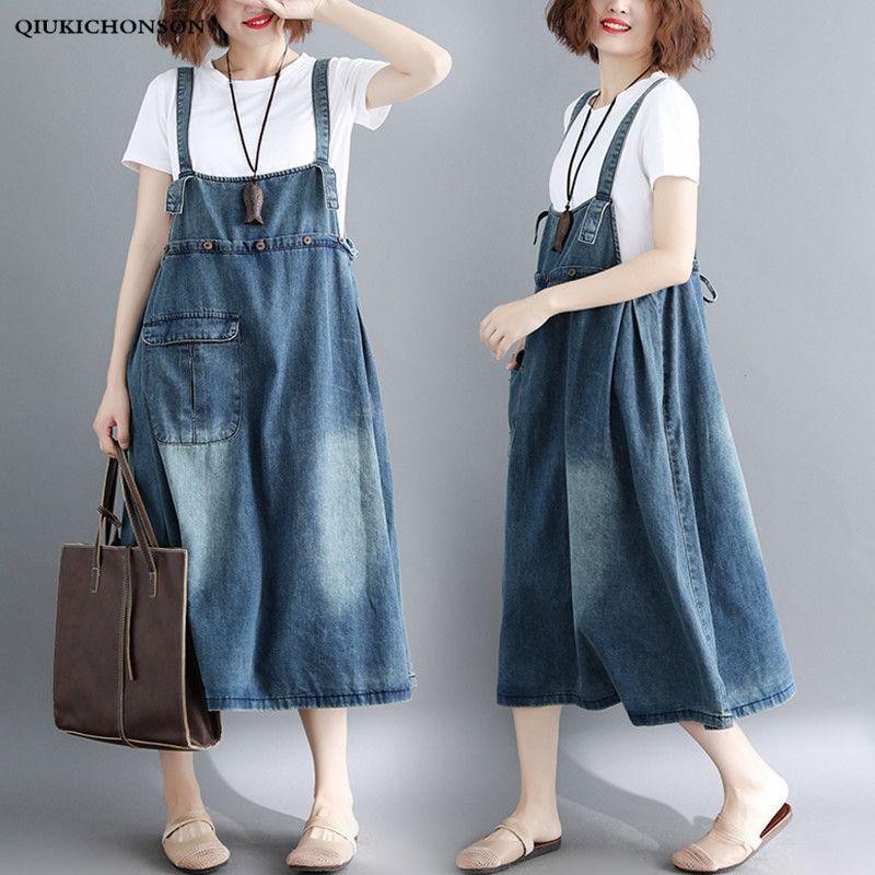 0c896d7ec0b47 Front Pocket Denim Overall Dress 2018 Summer Straps Sleeveless Midi Long  Sundress Women Plus Size Clothing Casual Denim Dresses J190511