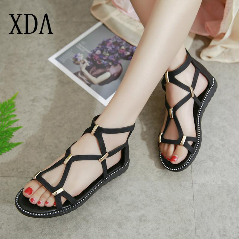 f8d33d3a0d3 XDA Summer 2019 Shoes Sandals Vintage Women Round Toe Zipper Flat Sandals  Buckle Cross Straps Fashion Rome Casual Gold Wedges Red Wedges From  Kendymade, ...