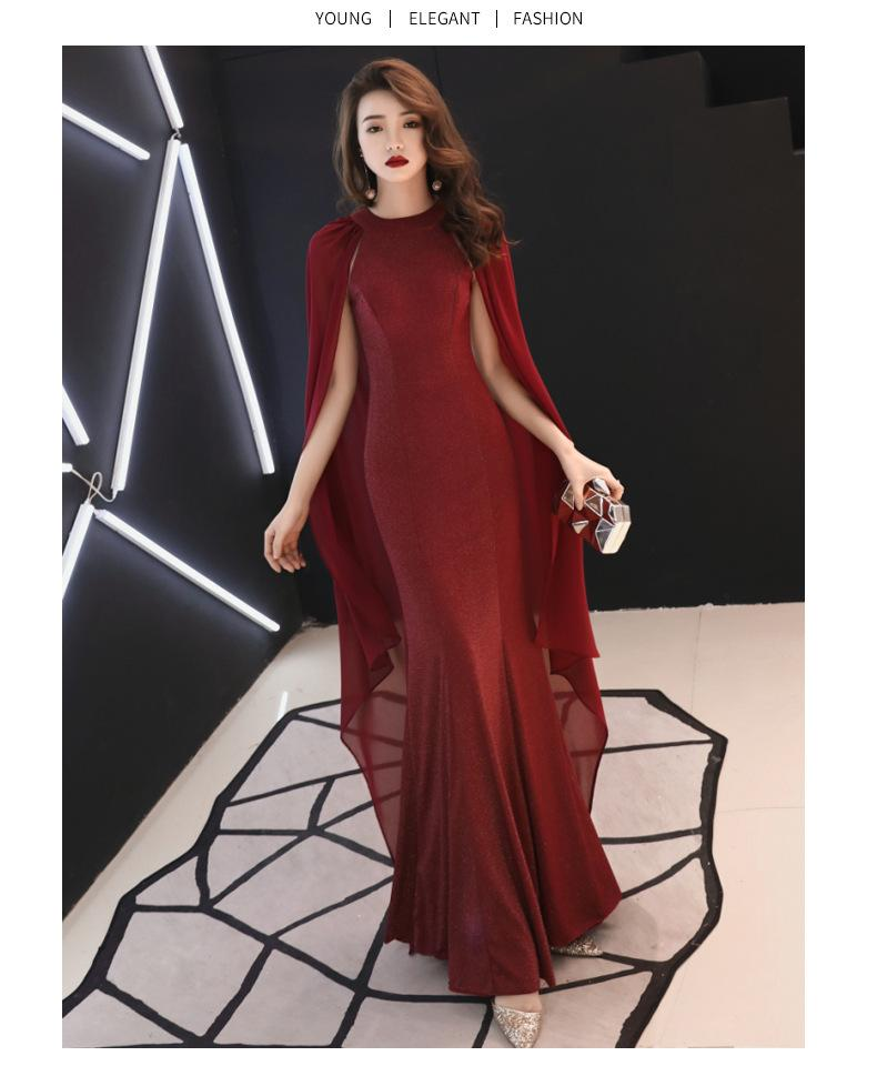 5ac3ef5c66b7 2019 Red Summer 2019 Korean Elegant Women Banquet Party Host Evening Dress  Shawl Sleeve Fishtail Long Skirt QC0187 From Wangfengzhen, $25.13 |  DHgate.Com