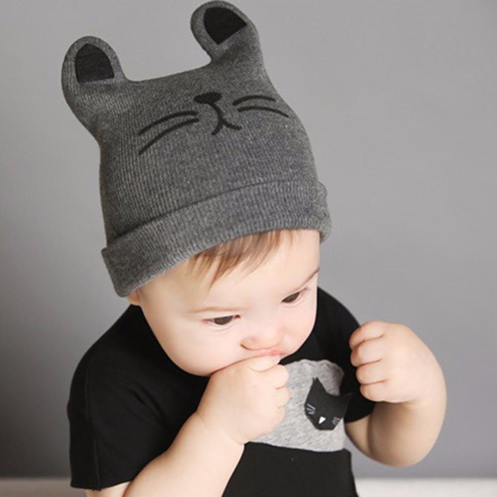 c55a86fb1aa 2019 Hat Newborn Baby Hats Newborn Cartoon Knitting Cap Toddler Kids Boys  Girls Cat Ear Beanie Cap Infant Autumn Winter Warm Hat From Toy 888