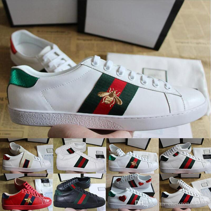 Fashion Luxury Designer Casual Shoes Ace Embroidery Bee Tiger Snake Flat Sneaker Sports Trainers Party Dress Ladies Genuine Leather Shoes