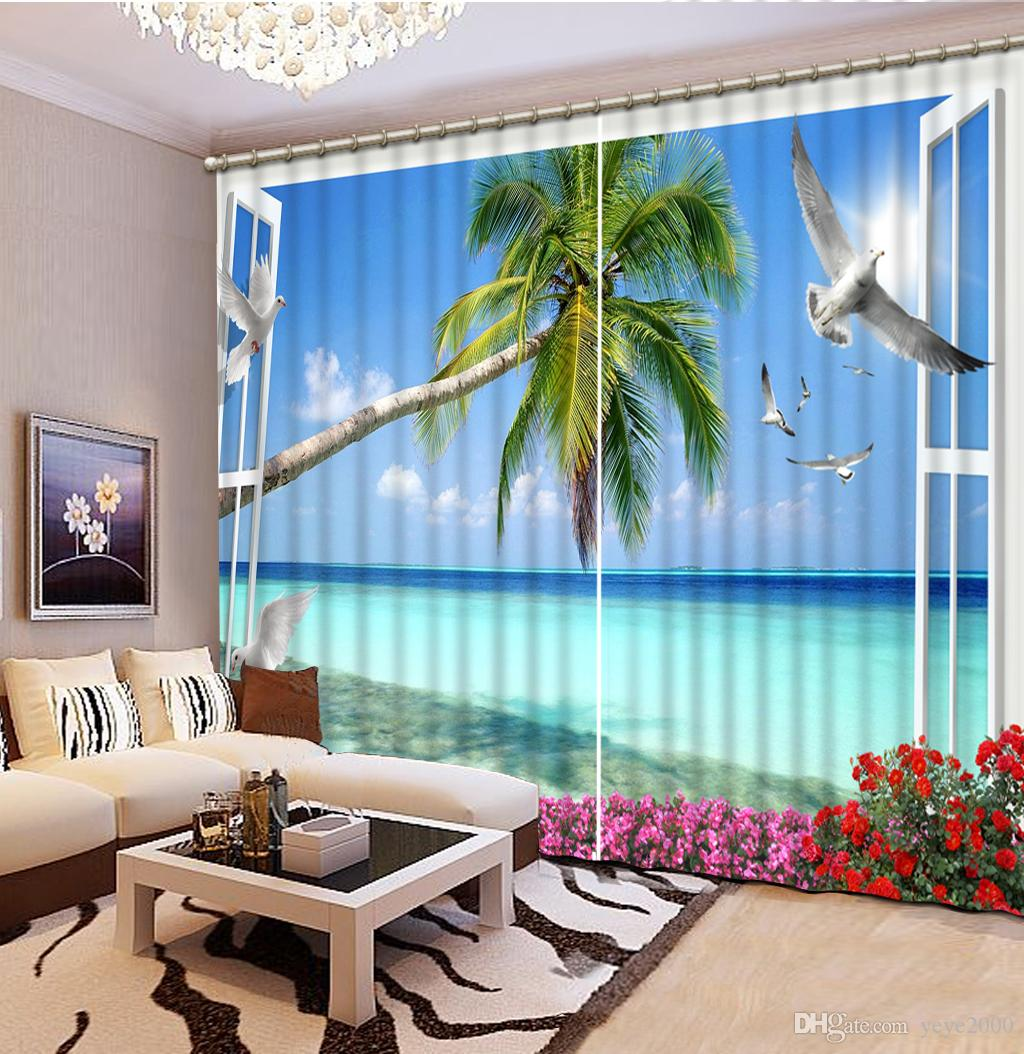 Luxury 3D Window Curtain living room Shower HooksYerba bird sea view Curtains blackout Tapestry Custom size