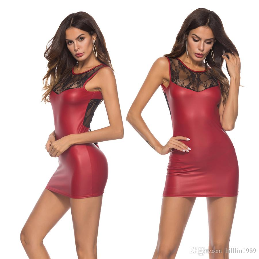 af8ba6ca63cb 2019 Plus Size Summer Party Mini Dresses Sexy PVC Club Dress Large Size  Faux Leather Fetish Bar Night Club Wear From Hilllin1989, $10.37 |  DHgate.Com