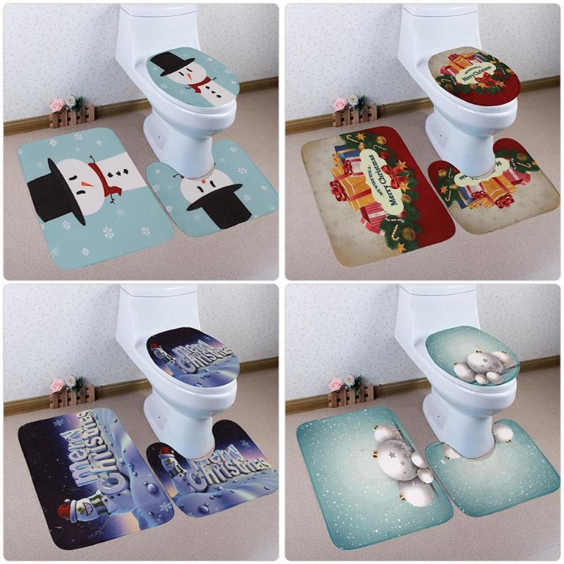 Pleasant 3Pcs Christmas Anti Slip Bath Mat Toilet Seat Cover Bathroom Mats And Rugs Carpet Bralicious Painted Fabric Chair Ideas Braliciousco