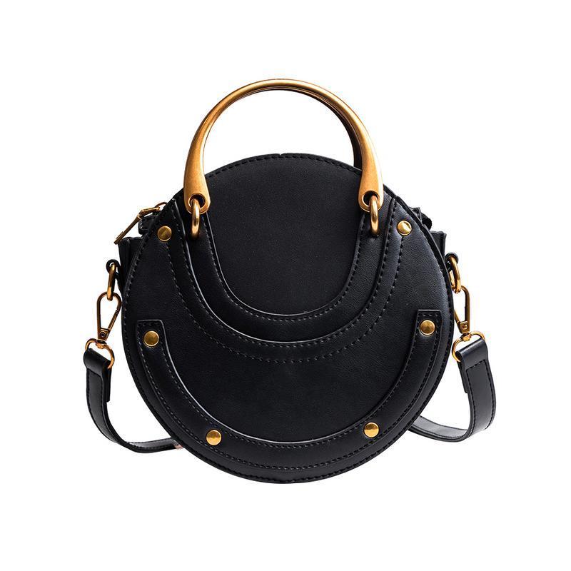 b6c3961a8eff Crossbody PU Bag Fashion Clutch Tote Rivet Small Round Handbag Messenger  Shoulder Hand Bags For Women Female Elegant Ladies Bag Designer Bags Ladies  ...