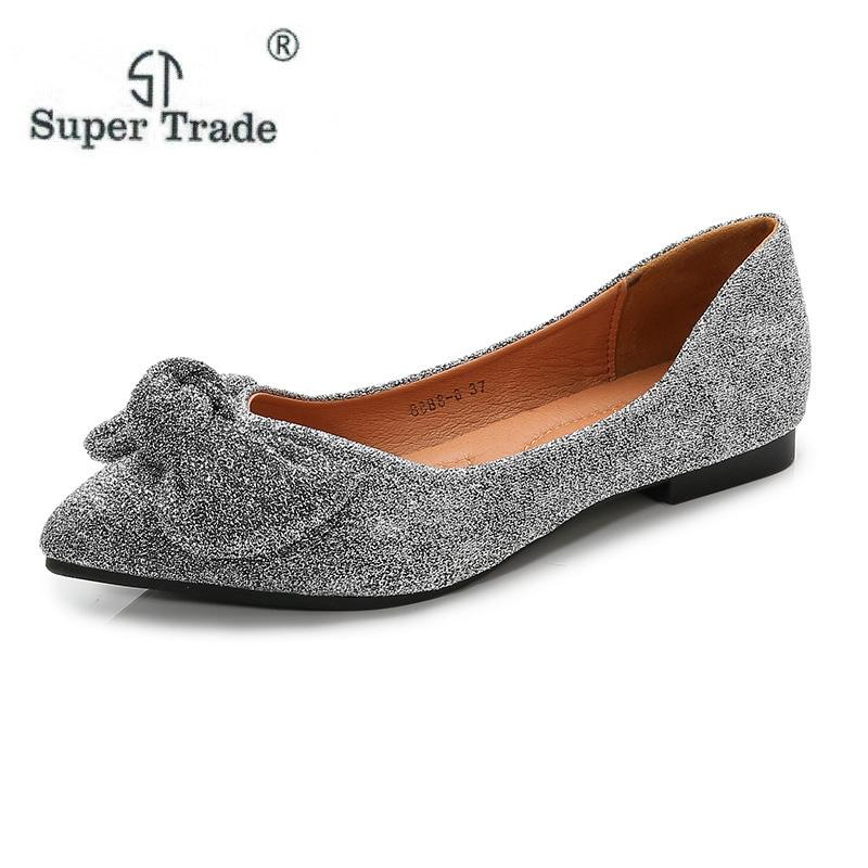 Women Casual Shoes 2019 New Flats Shoes Ladies Fashion Point Toe Slip On  Female Elegant Bowtie Footwear Large Size 36 42 Mens Casual Shoes Designer  Shoes ... 9ced22560f15