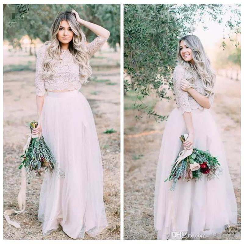 c5416f931a3 2019 Lace Top A Line Two Piece Short Sleeves Illusion Bridesmaids Dresses  Tulle Vintage Boho Bridal Gowns Beach Bohemian Honor Of Maid Bridesmaid  Dresses ...